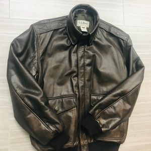 LL bean men's leather bomber jacket.